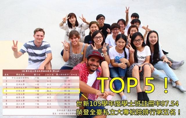 Top 5!世新註冊率97.54榮登全臺私立大專校院第五名!